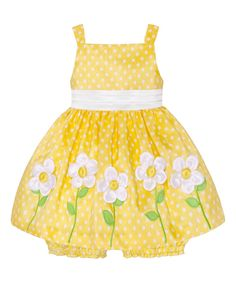 Yellow & White Polka Dot Flower Dress & Bloomers - Infant