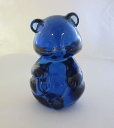 "Vintage Signed Fenton Art Glass Cobalt Blue Sitting 3 1/2""  Bear"