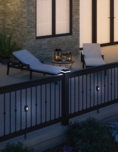 Get this look delivered to your job-site or door! Deckorators ALX Aluminum Pro Rail and Cap rail system is paired with the ALX Traditional Aluminum Post Sleeve and Solarband Versacap. The featured balusters are Deckorators round Classic spindles alternating the Classic solar light and Classic collars. Call us for help in calculating your quantity, getting a deck design and shipping all parts directly to your job-site worldwide! Most orders ship FREE in the USA! Outdoor Furniture, Solar Lights, Home, Sun Lounger, Outdoor Decor, Deck Design, Living Spaces, Outdoor Living, Deck Lighting