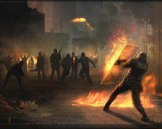 riot police shield molotov cocktail 1280x1024