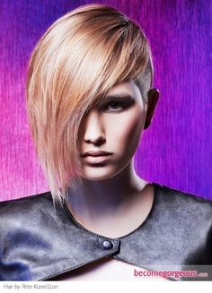 Stylish Long Bangs Short Hair Style
