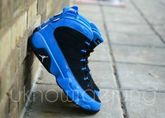 85fe0988e1a5 Here is a look via Jae Jung of a pair of Air Jordan IX 9 Photo Blue Patent  Leather Black Unreleased Sample Sneakers