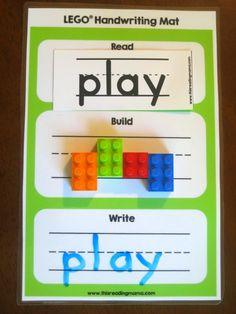 Free LEGO Handwriting Mats. Read - Build - Write