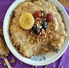 Steel-cut oatmeal is a delicious low-cholesterol recipe.                                                                                                                                                                                 More