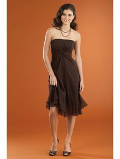 Chiffon Strapless Shirred Back Bodice Knee-Length Bridesmaid Dress