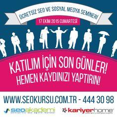 Ücretsiz Seo ve Sosyal Medya Semineri'ne katılım için son günler. Halen kayıt yaptırmadıysanız hemen yaptırın. http://www.seokursu.com.tr 444 30 98 #seoakademi #seo #sosyalmedya #seminer #ücretsiz