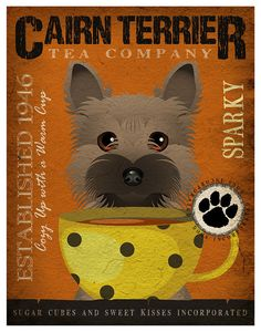 Tea Cup Dogs  Cairn Terrier Poster 11x14  by DogsIncorporated, $29.00