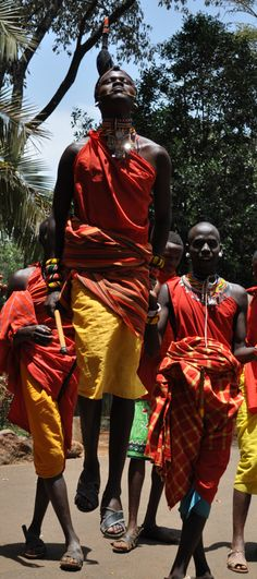 Maasai Warriors Dance, Kenya - This picture makes me feel joyous.