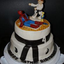 Karate Kid v Spider Man - Made this cake for a old little boy that wanted the karate kids beating up spider man. Made the cake to look like the karate kimono. Vanilla cake w/vanille buttercream. Karate Cake, Karate Party, Ninja Party, Buy Cake, Order Cake, Fondant Decorations, Cakes For Boys, Birthday Cake, Birthday Ideas