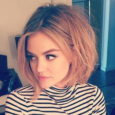 Lucy Hale Hair and Makeup - Short Bob, Thick Eyebrows, and Winged Liner @ davestanwell