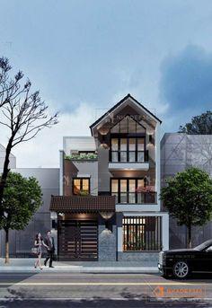 Phối cảnh mặt đứng thiết kế nhà phố 3 tầng diện tích 8x20m hiện đại mái dốc