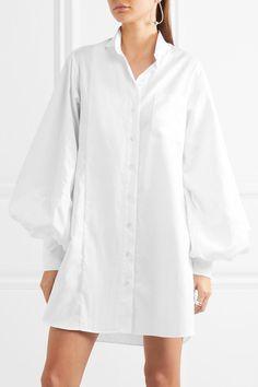 Burberry  Pintucked herringbone cotton and faille shirt dress