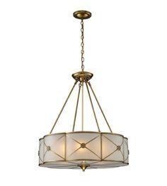 ELK Lighting Preston 6 Light Pendant in Brushed Brass 22001/6 #lightingnewyork #lny #lighting