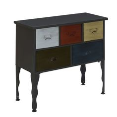 Metal Storage Unit Vintage Chest of Drawers Coloured Black Office Retro Cabinet