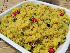 Sev Khamni is popular Gujarati Snacks & Breakfast from Surat area. Sev Khamni is traditionally made from Dhokla and also known as Amiri Khaman. Indian Veg Recipes, Gujarati Recipes, Vegetarian Recipes, Cooking Recipes, Indian Appetizers, Indian Snacks, Appetizer Recipes, Gujarati Cuisine, Gujarati Food