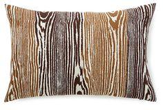 One Kings Lane - Mixed Materials - Woodgrain 14x20 Linen Pillow, Chocolate