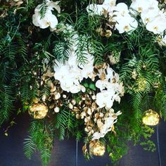 Hanging florals with warm light detail. | by Flower Jar