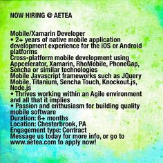 Good afternoon! AETEA is now hiring a Mobile/Xamarin developer in Chesterbrook PA! This job opportunity is for a leading healthcare solutions provider. Must have experience working with mobile applications and strong organizational skills. To find out more information please message us today or checkout our website AETEA.com #mobiledeveloper #xamarin #agile #javascript #jquery #knockout #ios #android #nowhiring #itconsulting #AETEAJOBS #PA #workforus #technology #techjobs