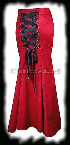 Gothic Clothing Red Fishtail Corset Skirt