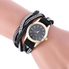 Watch. New Leather Bracelet Watch Women Dress Watches Wrap Around Pendant Quartz Analog WristWatch