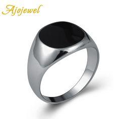 Ajojewel 브랜드 뜨거운 판매 클래식 남성 보석 실버 도금 에나멜 블랙 반지 크기 7-13