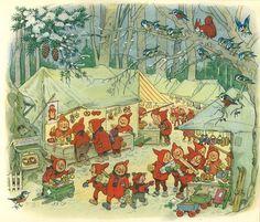 Fritz Baumgarten / Weihnachtsfest im Wichtelland / Bild 09 by micky the pixel… Christmas Illustration, Children's Book Illustration, Baumgarten, Elves And Fairies, Fairytale Art, Christmas Art, Christmas Markets, Christmas Shopping, Woodland Creatures