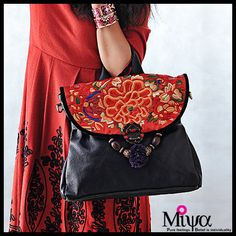 Miya's Original Ethnic Hmong Embroidered Bag Leather  Purse Shoulderbag - Warmth on Etsy, $157.05 AUD