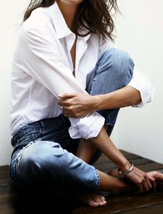 always loved the look of white shirts and blue jeans - classic, timeless