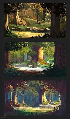 Mooi voorbeeld van een doorkijkje in een bos. Grote donkere vormen op de voorgrond, naar achter wordt alles kleiner en lichter.: