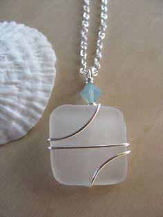 SALE Sea Glass Jewelry Sea Glass Necklace Beach por BostonSeaglass