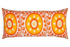 Suzani 14x30 Cotton Pillow, Orange