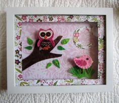 Owl Nursery Art, Bird Nursery Art, 3D Felt Nursery Art, Framed Nursery Art, Girl Nursery. $35.00, via Etsy.