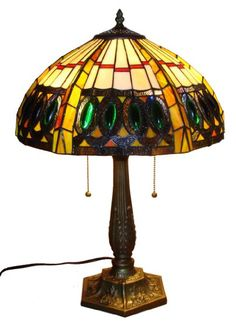 Amora Lighting AM1004TL16 Tiffany Style Jeweled Table Lamp, Multi color