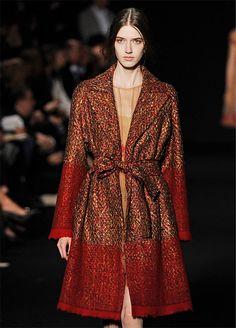Gold thread in red tweed coat, Alberta Ferretti