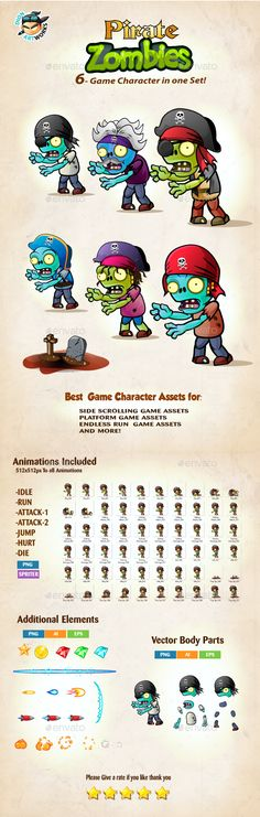 6  Pirate Zombies Character Sprites Pack — Vector EPS #game #charcter sprites • Available here → https://graphicriver.net/item/6-pirate-zombies-character-sprites-pack/16039571?ref=pxcr