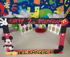 mickey mouse party photo booth frame by funpartyframes on Etsy
