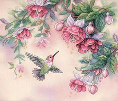 Hummingbird & Fuchsias Stamped Cross Stitch Kit-14 X12