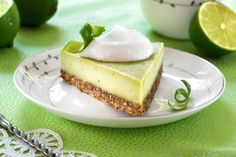 "Raw Vegan ""Key Lime"" Pie from Choosing Raw Cookbook. This recipe is easy, delicious, and a great Summer dessert. #raw #vegan #glutenfree"