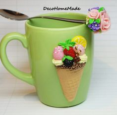 Polymer clay mug - ice cream & spoon with flowers