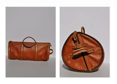 vintage leather duffle bag carry on LARGE tote shoulder luggage bag overnight duffle duffel. $275.00, via Etsy.