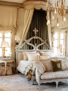 The ornate drapery in the master bedroom was made by De Mott Collection; the trim is from Janet Yonaty; the tassels are antique. The wooden ...