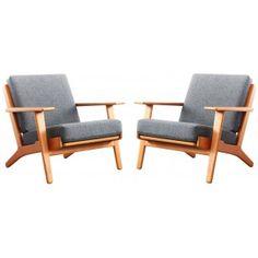 Paire de fauteuils GE 290 en teck et tissu Kvadrat gris, Hans WEGNER - 1960
