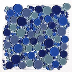 Round Bubbles Gl Tile Mosaic Crystal Royalty Blue Blend
