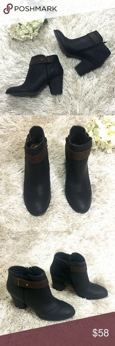 """Side Zip Bootie Black booties with stacked heel, brown strap detailing and buckle closures. Buckle on sides are adjustable. 3 1/2"""" stacked heel. Size 6.5. Feel free to ask questions!  Restricted Shoes Ankle Boots & Booties"""