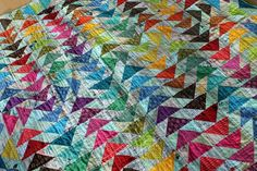 A rainbow quilt finish