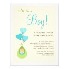 Balloon Baby Shower Invitation Boy