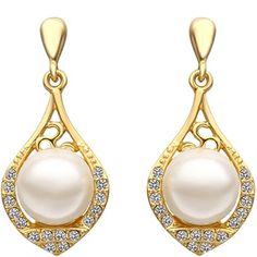 18K Gold Plated Pearl Earring Pearl Stud Earrings, Drop Earrings, Pearl White, Wedding Styles, 18k Gold, Fashion Brands, Shapes, Crystals, Detail