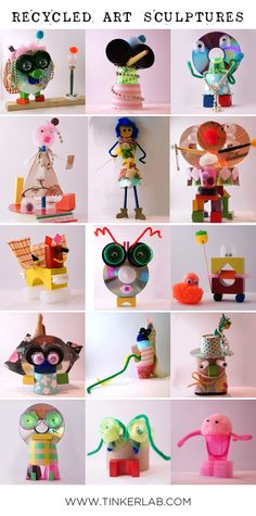 Recycled Art Sculptures with Found Objects Mystery Box Challenge Great for Earth Day Recycled Art Projects, Projects For Kids, Craft Projects, Crafts For Kids, Art From Recycled Materials, Recycled Tires, Recycled Crafts Kids, Recycling Projects, Recycled Furniture