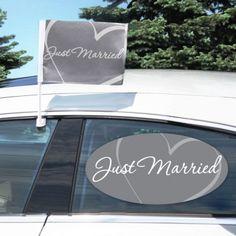 """Just Married"""" Car Flag & Window Cling Set - #Wedding #WeddingReception"""
