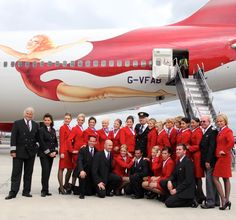 Virgin crew celebrating the carrier's 25th birthday
